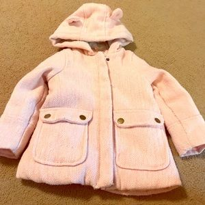 Carters Girls 3T Pink Sparkle Coat with Bear Hood